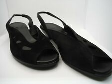 Arche Naomad Veau Nubuck Black Suede Sandals with Cut-Outs Size 40 Euro 9 US