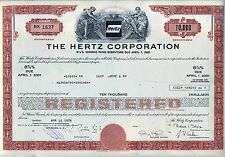 $10,000 The Hertz Corporation Bond Stock Certificate Auto