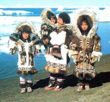 Eskimo mother and girls Native American Alaska traditional clothing fur Postcard