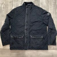 Polo Ralph Lauren Suisse Quilted Hunting Full Zip Up Black Jacket Mens Size XL