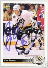 BOB SWEENEY 1993 UPPER DECK BOSTON BRUINS   AUTOGRAPHED HOCKEY CARD JSA