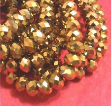25pc 6mm golden Faceted Abacus glass beads-5005A