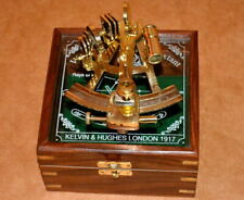 "Antique vintage 4"" brass nautical sextant astrolab ship instrument w/ wooden box"