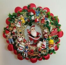 Vintage Ornament Christmas Wreath Handmade Santa Claus Red Green Wooden 18""