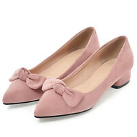 Women's Bowtie Sexy Pointed Toe Block Low Heel Party Dress Work Pumps Shoes