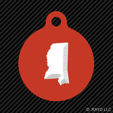 Mississippi Shaped Keychain Round with Tab dog engraved many colors MS