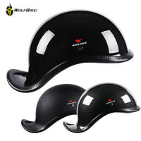 Retro Biker Skull Cap Motorcycle Helmet Matte Black German Half Face Chopper