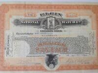 Elgin National Watch Co. Employee Stock Certificate 1921