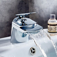 NEW Modern Waterfall Bathroom Tap Basin Sink Mono Mixer Chrome Cloakroom