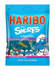 Haribo Gummy Smurfs - TWO PACK - 4oz Bags Strawberry & Raspberry FREE SHIPPING