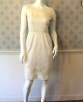 Vintage 1950s to 1960s Rita Thornton Ivory Cotton Ribbed Lace Applique Dress