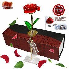Rose Veritable Plaque Or Rouge Amour Eternel Cadeau Romantique Femme Mariage