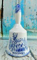 "Vintage Porcelain Wisconsin with Deer Scene Figurine Bell 4-1/2"" Tall"