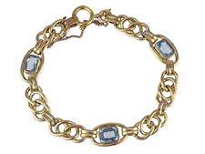 Jugendstil Rodi & Wiennenberger Pforzheim Gold Doublé Blautopas Damen Armband