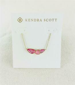 Kendra Scott Ivy Deep Blush Pink Gold Necklace