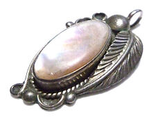 """1.25"""" SOUTHWESTERN STERLING SILVER MOTHER PEARL OLD ESTATE PENDANT OR CHARM"""