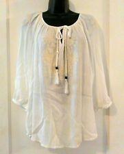 Cynthia Rowley Woman White Peasant Blouse Plus Size 1X Embroidered Boho Hippie