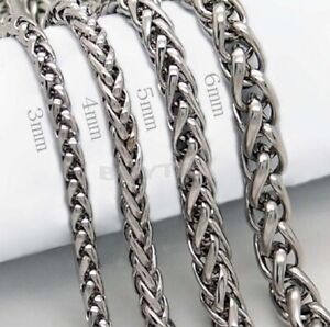 """19"""" 48cm Stainless Steel Silver Wheat Spiga Chain 4/5/6mm Wide Necklace J27 UK"""