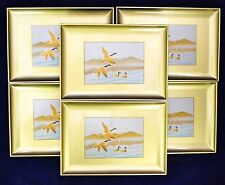 *Set of 6* Vintage OTAGIRI Gold CANADA GOOSE GEESE  LACQUERWARE TRAYS NATURE