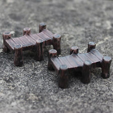 Mini Wooden Bridge Micro Landscape Resin Figurines Fairy Garden Accessories AA