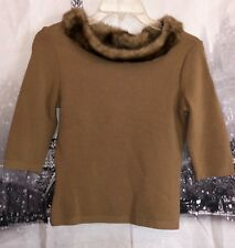Heart Soul Brown Sweater Faux Fur Collar Size Medium