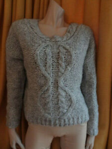 (271FEB) Size 14/16 *NEXT* Cosy grey cableknit mohair-rich jumper ladies/women