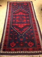"Vintage Kilm 6' 8"" x 3' 8""  Geometric Oriental Rug in Dark Navy and Burgundy Red"