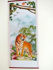 CHINESE BAMBOO WALL HANGING SCROLL PICTURE TIGER MOUNTAIN BIRTHDAY PARTY 6-4