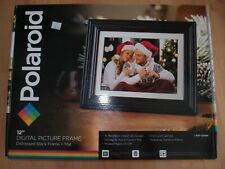 "Polaroid 12"" Digital Picture Frame Distressed Black Wood Frame+Mat PDF-1250W NEW"