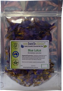 BLUE LOTUS ORGANIC WATERLILY LILY -CALMING RELAXING MELLOW 10g Nymphaea Caerulea