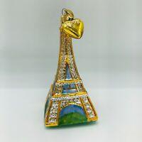 Large Hand Painted Glass Blown Ornament Eiffel Tower Paris France Christmas