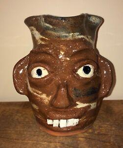 Burlon B.B Craig Face Jug Pitcher Catawba Valley Southern Folk Art Pottery NC BB