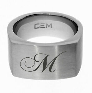 CEM Siegelring Edelstahl Größe 60 mit Gravur Mongramm Initialen oder Wunschtext