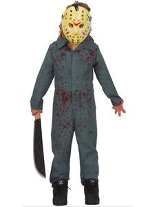 Childrens Halloween Jason Voorhees Style Kids Fancy Dress Horror Movie Costume
