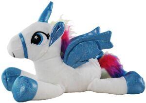 Soft toy plush laying unicorn white and blue 30cm Australian stock