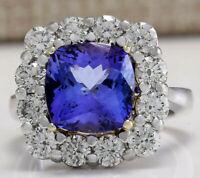 6.91 Carat Natural Tanzanite 14K White Gold Diamond Ring
