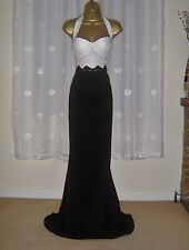 BEAUTIFUL HALTER NECK LACE SEQUIN MAXI EVENING PARTY DRESS SIZE 10 12 NEW