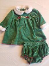 Little Wonders Baby Girl Green Velour Dress/Diaper Cover Size 3-6 Months
