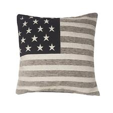 FILLED PATRIOTIC STARS STRIPES AMERICAN FLAG CHENILLE SILVER BLACK CUSHION 18""
