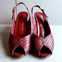 Vintage ETIENNE AIGNER Peep Toe Pumps 80s Oxblood Leather Open Toe Heels SZ 7 M