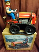Tin Litho Retro Style Wind Up Tractor Made in China MS 356 With Box