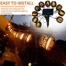 Solar String Lights 10Led Outdoor Waterproof Flickering Flame Hanging Lantern