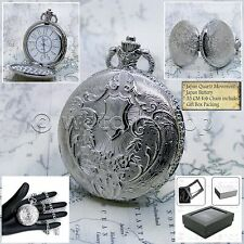 SILVER Antique Retro Mens Fashion Quartz Pocket Watch Gift Fob Chain Box P177