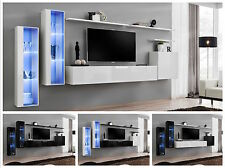 Anbauwand Wohnwand Wohnzimmer Schrankwand SWITCH XI Hochglanz PVC Push Click LED