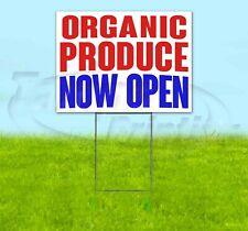 ORGANIC PRODUCE NOW OPEN Yard Sign Corrugated Plastic Bandit Lawn Decoration USA