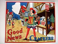 """Delightful 30-40's Art Deco English Label for """"Crackers"""" Poppers - """"Good News"""" *"""