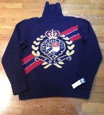 NWT Polo Ralph Lauren Crest Intarsia-Knit Wool Turtleneck Sweater Sz L