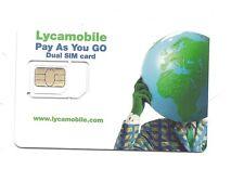 Lycamobile prepaid gsm dual cut sim card with $5 credit  worldwide roaming