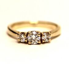 14k yellow gold .54ct 3-stone round diamond engagement ring 3.0g estate vintage