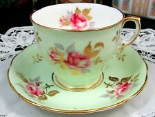 HAMMERSLEY PINK ENAMEL ROSES GOLD FOLIAGE GREEN TEA CUP AND SAUCER